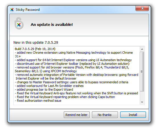 Sticky Password 7.0.5 update