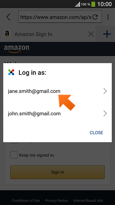 Using autofill with Sticky Browser on your Android device - tap the Sticky Password icon.