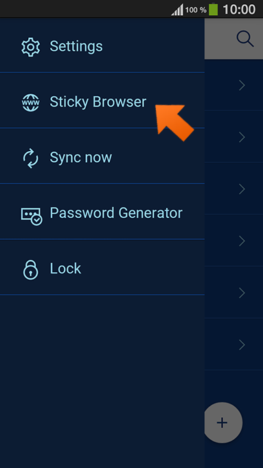 Using autofill with Sticky Browser on your Android device - tap Sticky Browser.