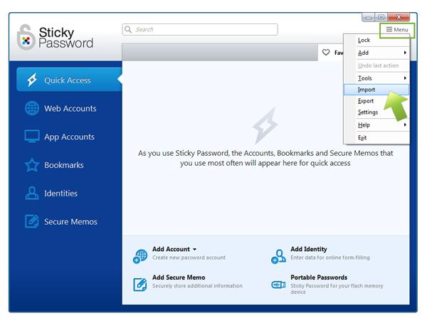 Importing Firefox passwords into Sticky Password on Windows