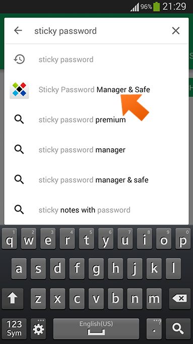 How to download the Sticky Password app from Google Play on Android - type Sticky Password.