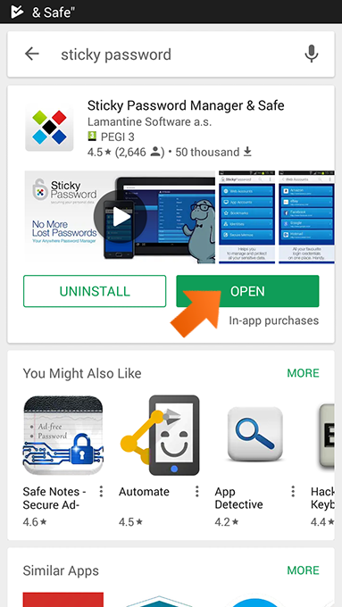 How to download the Sticky Password app from Google Play on Android - tap Open.