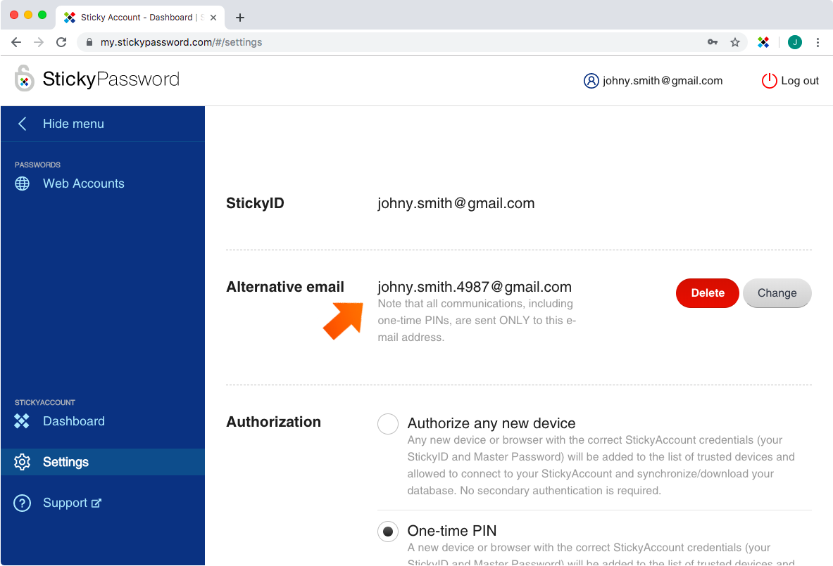 How To Change Your StickyID - alternative email added.
