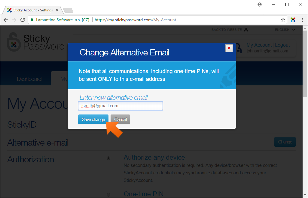 How To Change Your StickyID - enter you new alternative email.