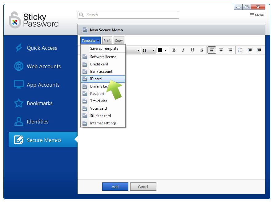 how to work with secure memos creating templates on windows