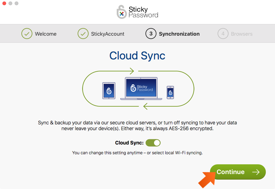 How to install Sticky Password on your Mac - enabling or disabling the cloud sync and backup in the First Run Wizard