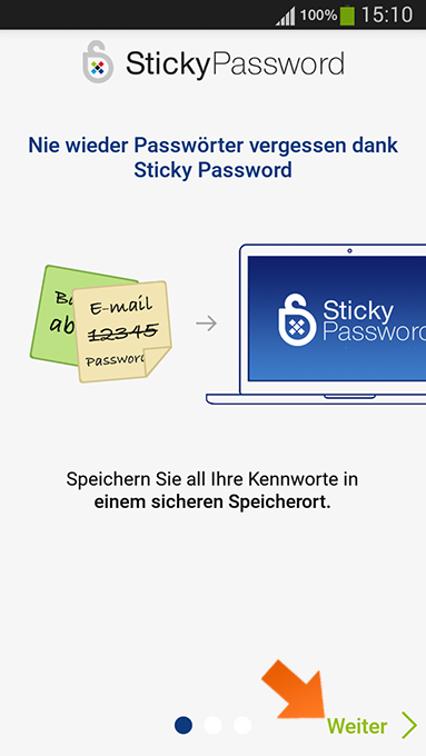 So installieren Sie Sticky Password unter Android
