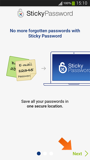 How to install Sticky Password on Android - tap Next and Continue.