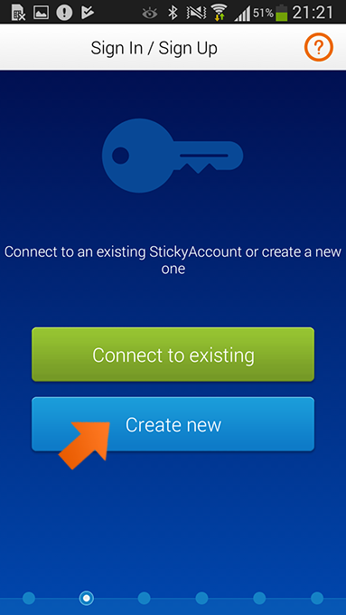 How to install Sticky Password on Android - Create new Sticky Account.