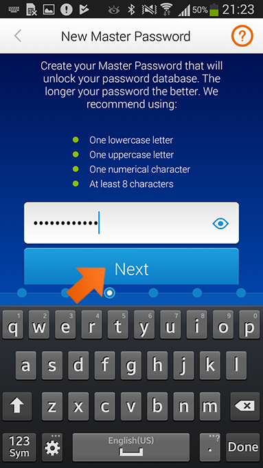 How to install Sticky Password on Android - create your Master Password.