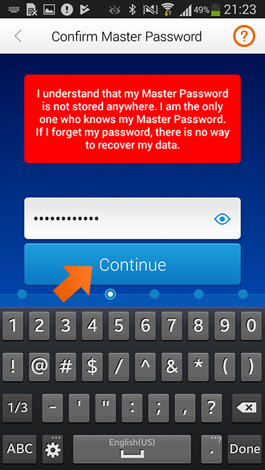 How to install Sticky Password on Android - confirm your Master Password.