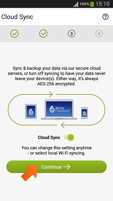 How to install Sticky Password on Android - cloud sync enabled.