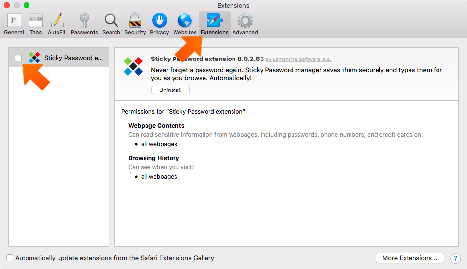 Enabling the Sticky Password extension in Safari on Mac - go to Extensions