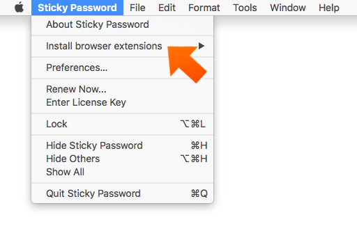 Installing the Sticky Password Extension for Chrome on Mac - click Preferences.