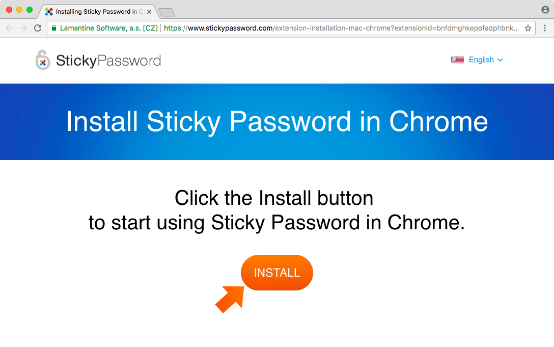Installing the Sticky Password Extension for Chrome on Mac - click Start.
