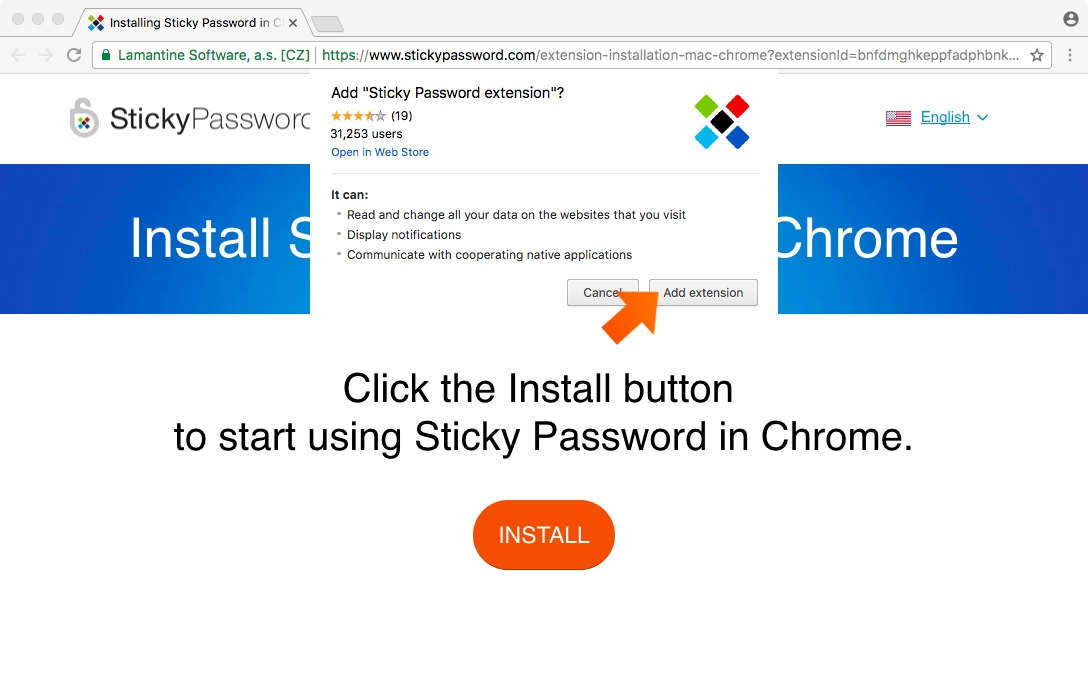 Installing the Sticky Password Extension for Chrome on Mac - click Add extension.