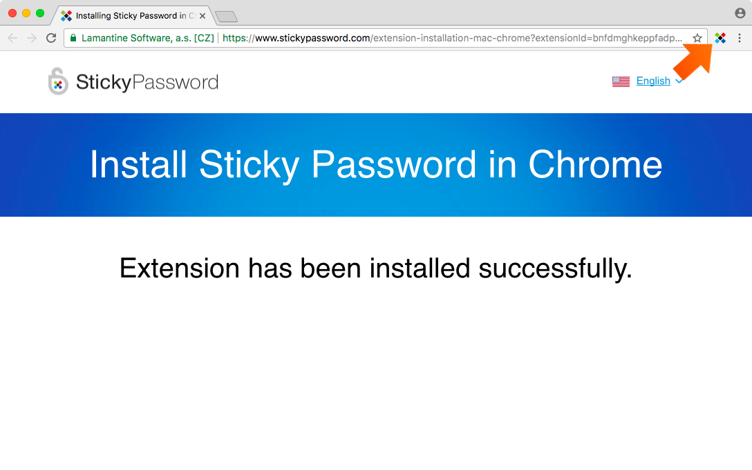 Installing the Sticky Password Extension for Chrome on Mac - Sticky Password icon will appear.