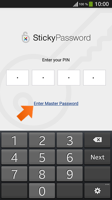How to set up PIN authentication on your Android - unlock Sticky Password.