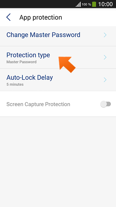 How to set up PIN authentication on your Android - select Protection type.