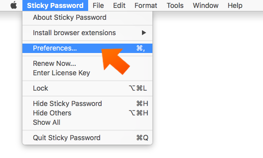 Sticky Password preferences on your Mac - open Preferences.
