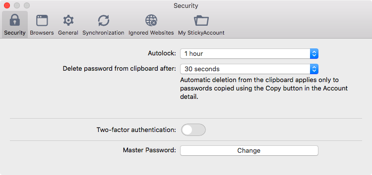 Sticky Password preferences on your Mac - Security.