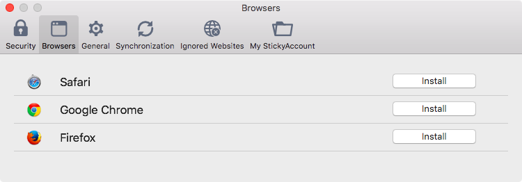 Sticky Password preferences on your Mac - Browsers.