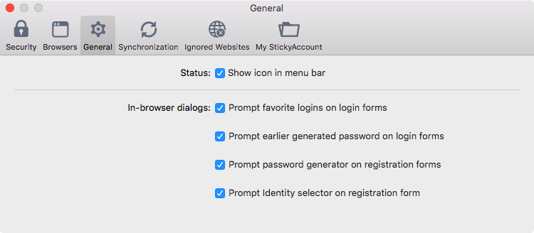 Sticky Password preferences on your Mac - General.