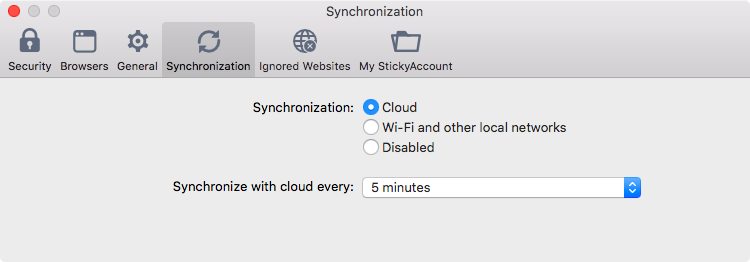 Sticky Password preferences on your Mac - Synchronization.