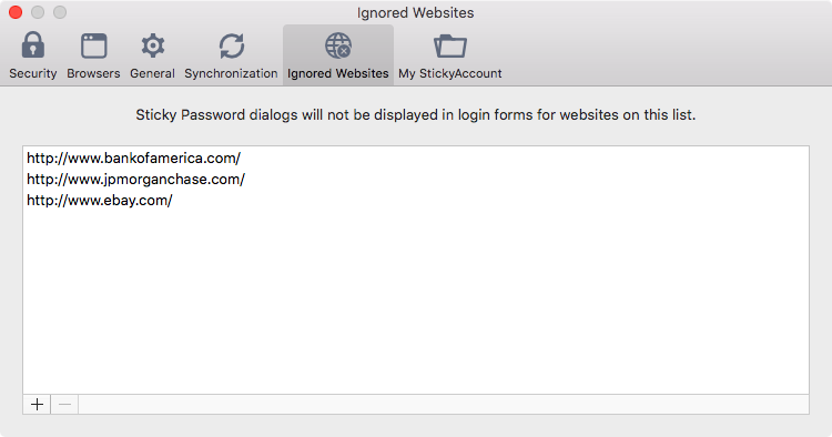 Sticky Password preferences on your Mac - Ignored websites.