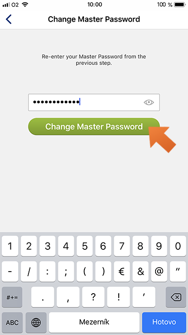 How to change your Master Password on iPhone - tap Change Master Password.