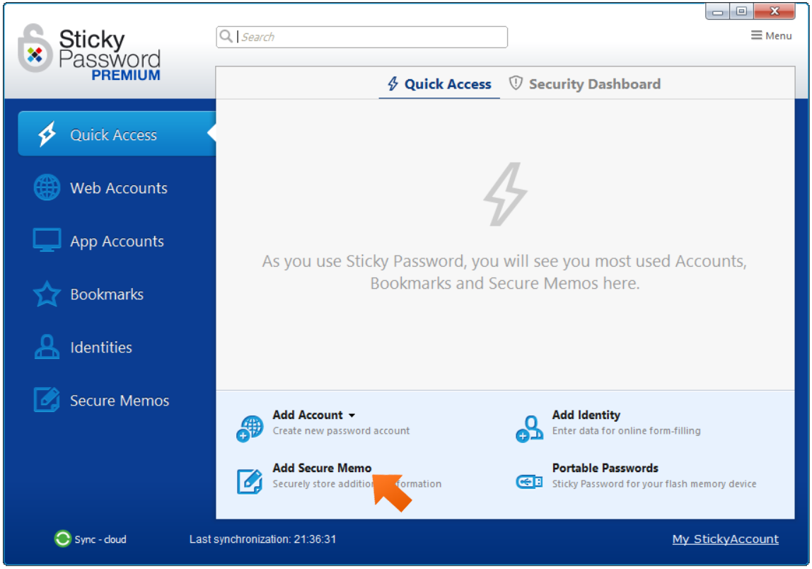 Click Add Secure Memo in Main Sticky Password window