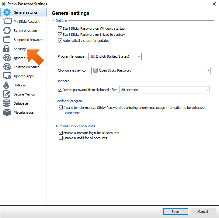 How to set up the Sticky Password autolock on Windows - click Security.
