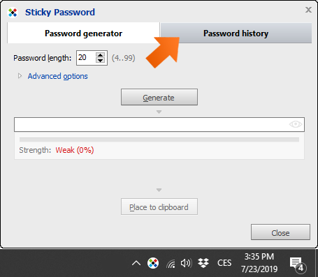 How to create strong passwords with password generator on Windows - click Password history