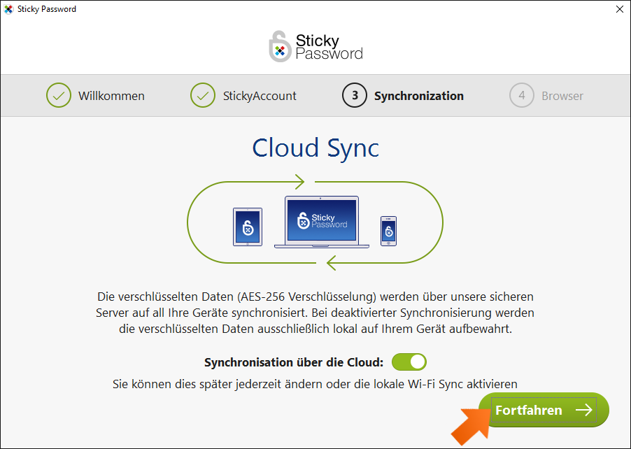 Sticky Password unter Windows installieren - In der Standardkonfiguration ist die Cloud Synchronisation aktiviert.