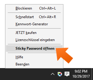 Sticky Password unter Windows installieren - Sticky Password öffnen.