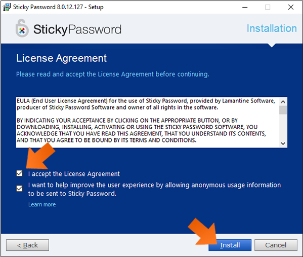 Getting started with Sticky Password - EULA confirmation.