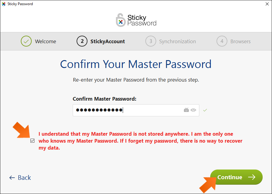 How to install Sticky Password on Windows- Confirm your Master Password