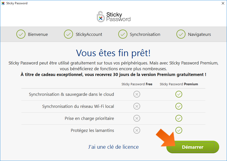 Comment installer Sticky Password - Tout est prêt !