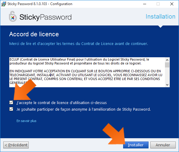 Comment installer Sticky Password - Confirmation du CLUF.