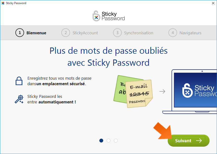 Comment installer Sticky Password - Bienvenue dans l'assistant Première utilisation de Sticky Password.