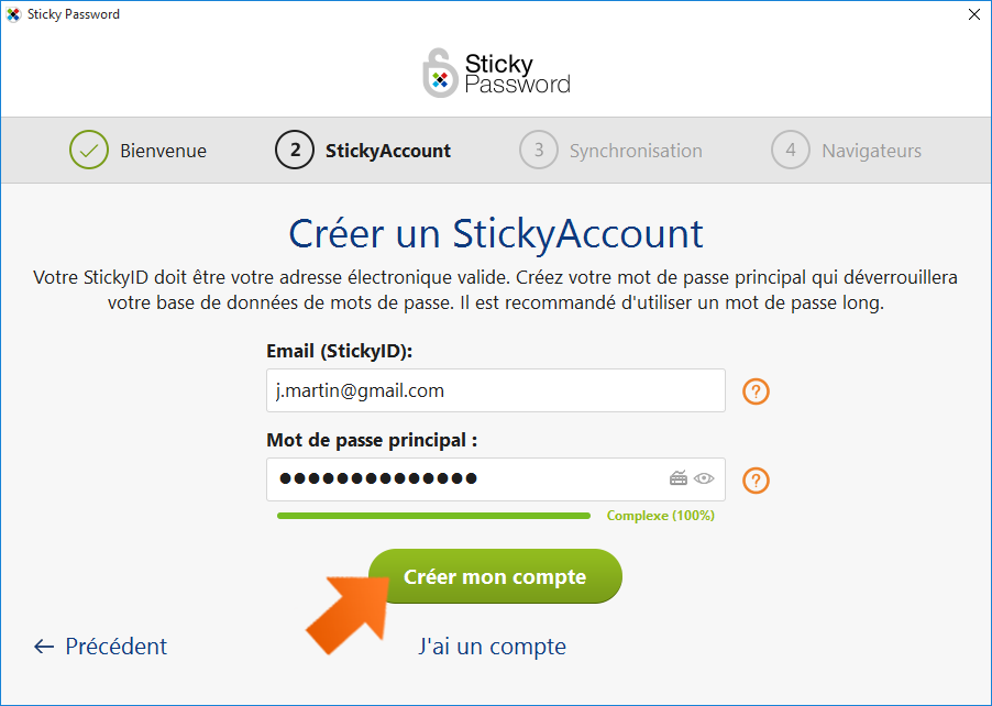 Comment installer Sticky Password - Créez votre compte Sticky Account.