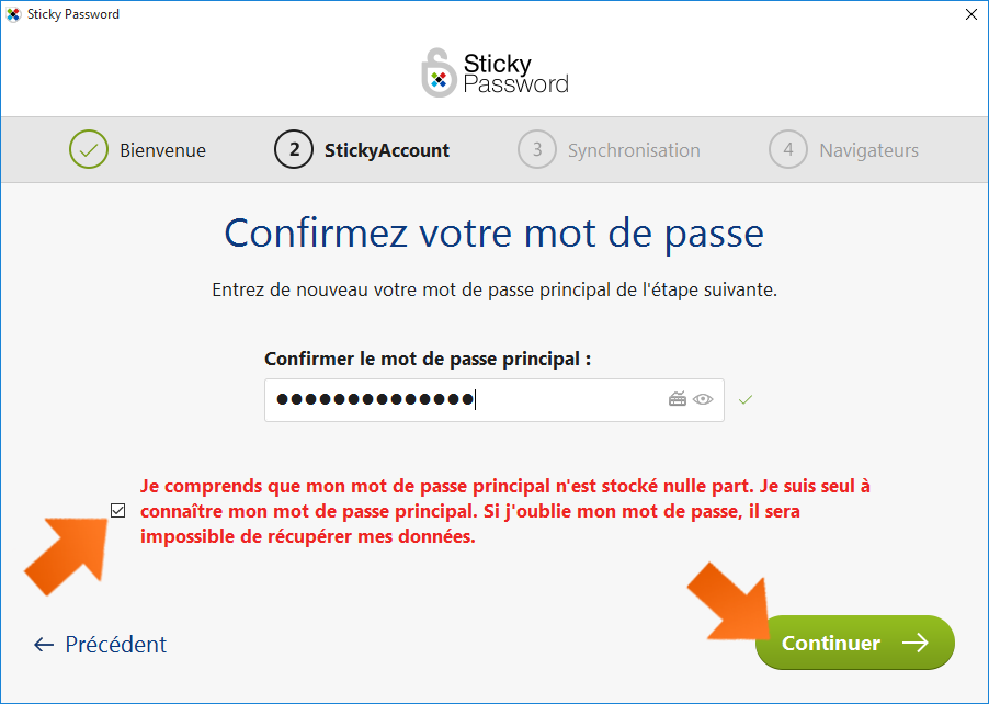Comment installer Sticky Password - Confirmez votre Mot de passe principal.