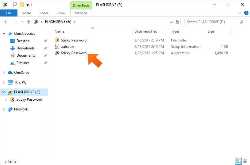 How to create a USB portable password manager on Windows - double click Sticky Password icon.