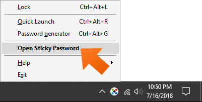How to create a USB portable password manager on Windows - open Sticky Password.