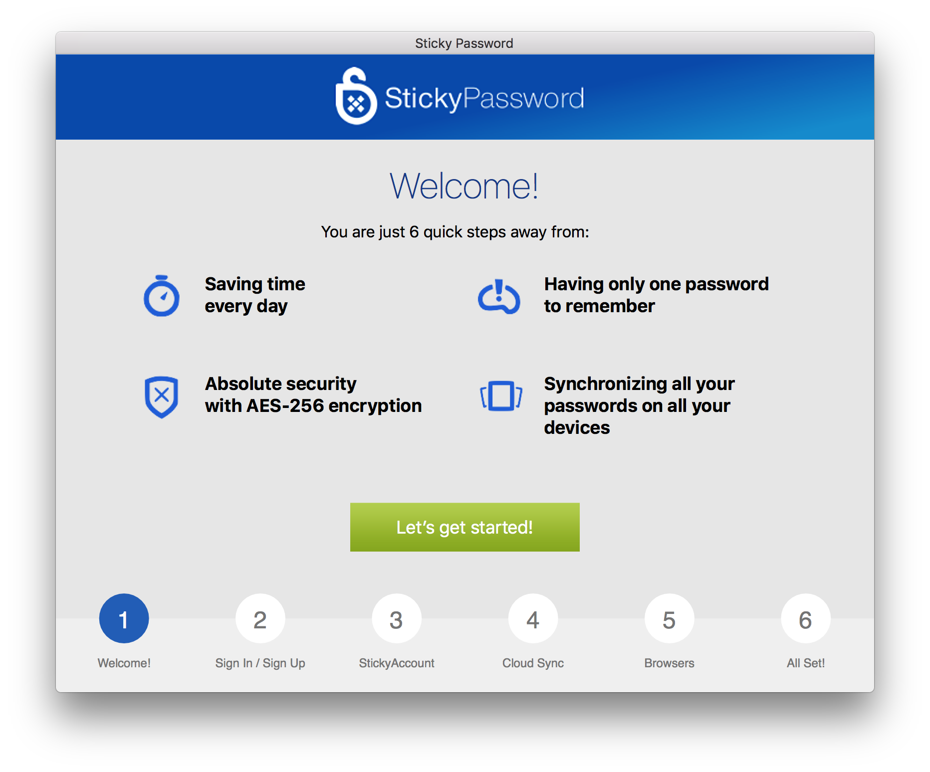 The Sticky Password First Run Wizard will appear and walk you through the setup.