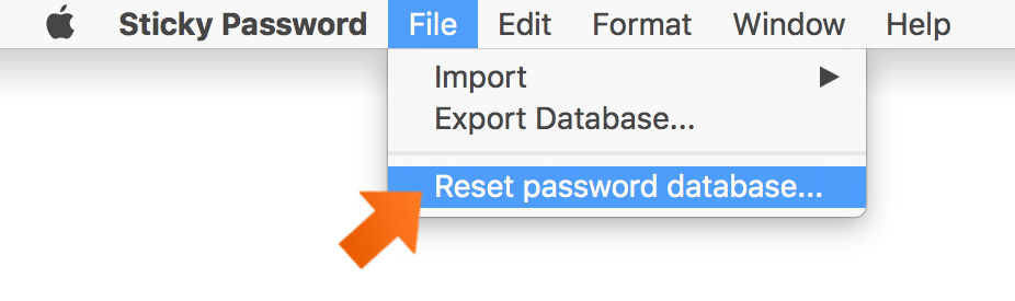 In the Upper Menu click File - Reset password database