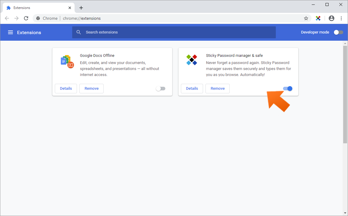 Installing the Sticky Password extension for Chrome on Windows - the Sticky Password extension has been installed and enabled.