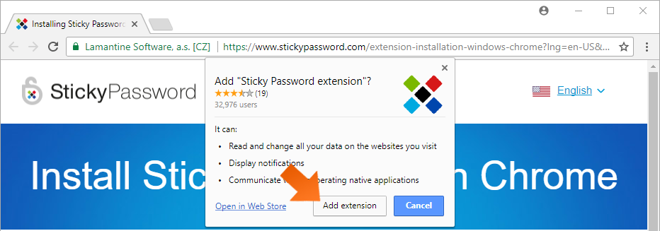 Installing the Sticky Password extension for Chrome on Windows - Click Add Extension.