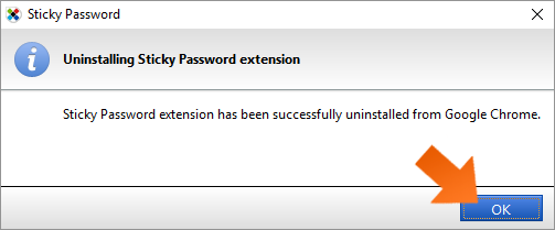 Installing the Sticky Password extension for Chrome on Windows - click OK.