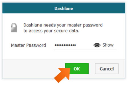 Enter your Dashlane Master password and click OK